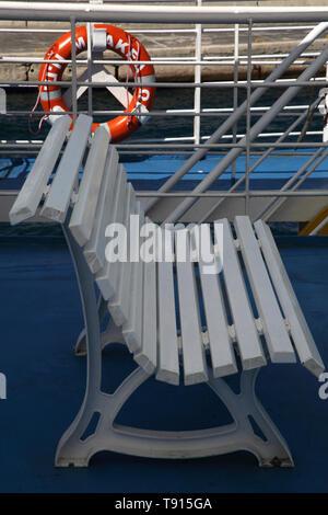 Kea Island Greece Ferry Bench on Upper Deck - Stock Photo