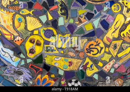 mosaic tile bench on bus stop on Broadway Blvd., Albuquerque, New Mexico - Stock Photo