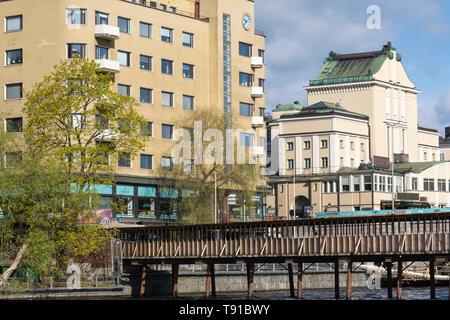 Wooden Bridge over Tammerkoski in Tampere Finland - Stock Photo