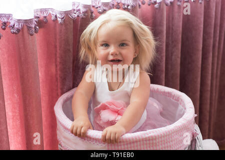 In her own style. Hair salon for kids. Little girl with long hairstyle. Little child wear natural hairstyle. Adorable child with blond hair. Funky - Stock Photo
