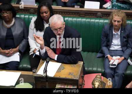London, UK. 15th May, 2019. British Labor Party Leader Jeremy Corbyn (Front) attends the Prime Minister's Questions at the House of Commons in London, UK, on May 15, 2019. British Prime Minister Theresa May confirmed Wednesday she still wants UK to leave the European Union (EU), but she rejected a second referendum or remaining in the EU's customs union. May outlined her hopes during Prime Minister's Questions in the House of Commons. Credit: UK Parliament/Jessica Taylor/Xinhua/Alamy Live News - Stock Photo