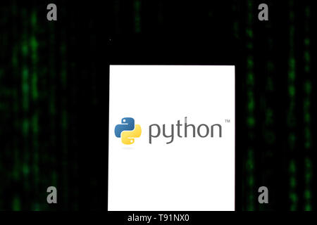May 14, 2019 - GlóRia De Dourados, Mato Grosso do Sul, Brazil - In this photo illustration the Python logo seen displayed on a smartphone. Credit: Rafael Henrique/SOPA Images/ZUMA Wire/Alamy Live News - Stock Photo