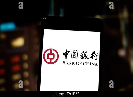 May 14, 2019 - GlóRia De Dourados, Mato Grosso do Sul, Brazil - In this photo illustration the Bank of China logo seen displayed on a smartphone. Credit: Rafael Henrique/SOPA Images/ZUMA Wire/Alamy Live News - Stock Photo