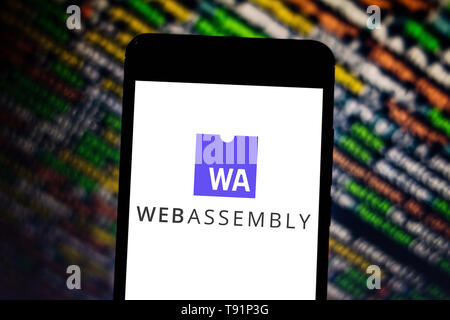 May 14, 2019 - GlóRia De Dourados, Mato Grosso do Sul, Brazil - In this photo illustration the WebAssembly logo seen displayed on a smartphone. Credit: Rafael Henrique/SOPA Images/ZUMA Wire/Alamy Live News - Stock Photo