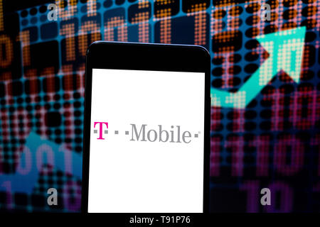 May 14, 2019 - GlóRia De Dourados, Mato Grosso do Sul, Brazil - In this photo illustration the T-Mobile logo seen displayed on a smartphone. Credit: Rafael Henrique/SOPA Images/ZUMA Wire/Alamy Live News - Stock Photo
