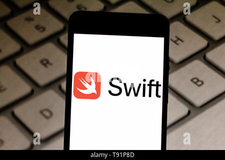 May 14, 2019 - GlóRia De Dourados, Mato Grosso do Sul, Brazil - In this photo illustration the Swift logo seen displayed on a smartphone. Credit: Rafael Henrique/SOPA Images/ZUMA Wire/Alamy Live News - Stock Photo