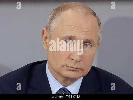 Sochi, Russia. 16th May, 2019. SOCHI, RUSSIA - MAY 16, 2019: Russia's President Vladimir Putin attends the plenary meeting at the Independent Local and Regional Media Forum held by the All-Russian People's Front. Mikhail Metzel/TASS Credit: ITAR-TASS News Agency/Alamy Live News - Stock Photo