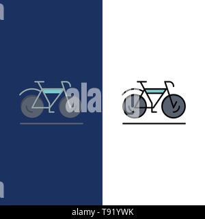Bicycle, Movement, Walk, Sport  Icons. Flat and Line Filled Icon Set Vector Blue Background - Stock Photo