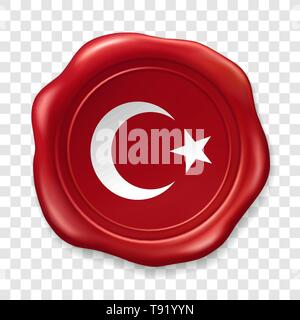 Turkish national flag with white star and moon. Glossy wax seal. Sealing wax old realistic stamp label on transparent background. Top view. Label - Stock Photo