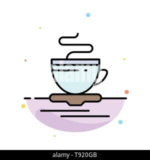 Tea, Cup, Hot, Hotel Abstract Flat Color Icon Template - Stock Photo