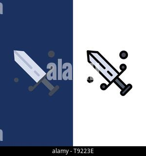 Competition, Fencing, Mask, Olympic  Icons. Flat and Line Filled Icon Set Vector Blue Background - Stock Photo