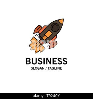 Startup, Business, Goal, Launch, Mission, Spaceship Business Logo Template. Flat Color - Stock Photo