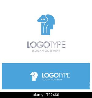 Activity, Brain, Mind, Head Blue Solid Logo with place for tagline - Stock Photo
