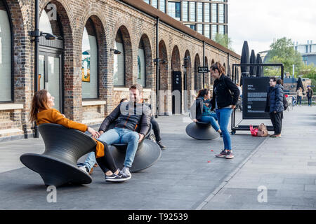 'Spun' seating by Heatherwick Studios in the recently opened public space at Coal Drops Yard, King's Cross, London, UK - Stock Photo