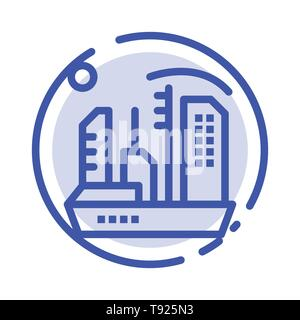 City, Colonization, Colony, Dome, Expansion Blue Dotted Line Line Icon - Stock Photo