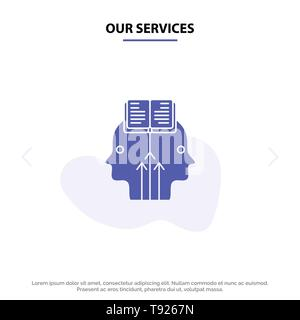 Our Services Mind, Reading, Programming, Man Solid Glyph Icon Web card Template - Stock Photo