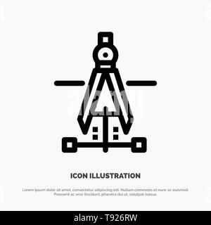 Compass, Drawing, Education, Engineering Vector Line Icon - Stock Photo