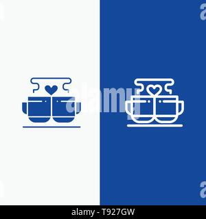 Cup, Coffee, Love, Heart, Valentine Line and Glyph Solid icon Blue banner Line and Glyph Solid icon Blue banner - Stock Photo