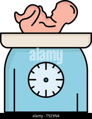 weight, baby, New born, scales, kid Flat Color Icon Vector - Stock Photo