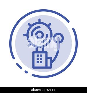 Alarm, Alert, Bell, Fire, Intruder Blue Dotted Line Line Icon - Stock Photo