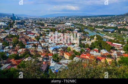 Tbilisi, Georgia - Sep 22, 2018. Aerial view of Tbilisi, Georgia. Tbilisi is the capital and the largest city of Georgia. - Stock Photo