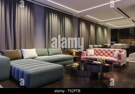 Modern interior design of living room, night scene with contrasting colors, millennial pink couch with complementary green blue sofa, kitchen in back - Stock Photo
