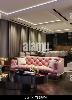 Modern interior design of living room, night scene with contrasting colors, millennial pink couch, kitchen and dinning room in background - Stock Photo