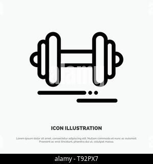 Dumbbell, Fitness, Sport, Motivation Line Icon Vector - Stock Photo