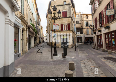 Arles, France - June 24, 2017: Street in the old town of Arles in Provence. France. - Stock Photo