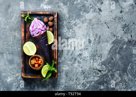 Selection of gourmet flavours ice cream in vibrant colors - Stock Photo