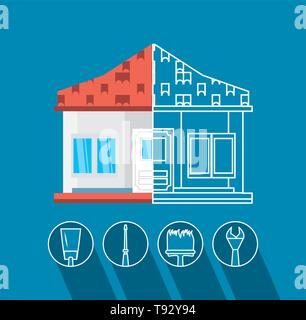 facade of house under construction with set tools vector illustration design - Stock Photo