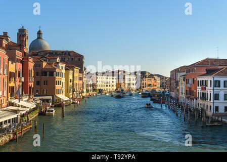 Venice, Italy - October 23, 2018: View of Grand Canal from Ponte Degli Scalzi, Scalzi bridge - Stock Photo
