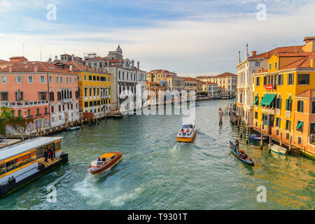 Venice, Italy - October 23, 2018: View of Grand Canal from Bridge Ponte dell'Accademia in Venice