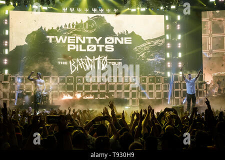Musicians Tyler Joseph + Josh Dun of Twenty One Pilots during their 'Bandito Tour' performing at Rogers Arena in Vancouver, BC on May 12th 2019 - Stock Photo