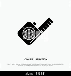 Measure, Measuring, Tape, Tool solid Glyph Icon vector - Stock Photo