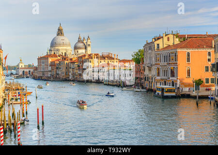 View of Grand Canal from Bridge Ponte dell'Accademia in Venice. Italy