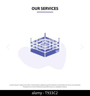 Our Services Boxing, Ring, Wrestling Solid Glyph Icon Web card Template - Stock Photo