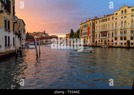 Bridge Ponte dell'Accademia over Grand Canal on sunset in Venice. Italy - Stock Photo