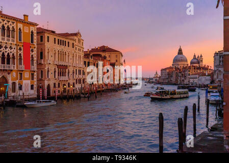 View of Grand Canal on sunset in Venice. Italy Stock Photo