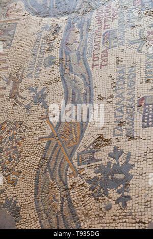 Mosaico de Tierra Santa. Iglesia griega ortodoxa de San Jorge. Madaba. Jordania, Oriente Medio - Stock Photo