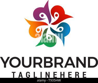 flower abstract logo design concept template vector - Stock Photo