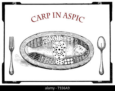 vintage food engravings collage: art deco table presentation of carp served in aspic with vegetables - Stock Photo