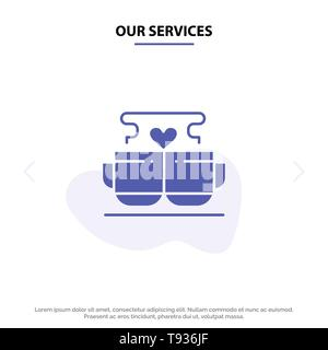 Our Services Cup, Coffee, Love, Heart, Valentine Solid Glyph Icon Web card Template - Stock Photo