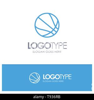 Education, Ball, Basketball Blue Outline Logo Place for Tagline - Stock Photo