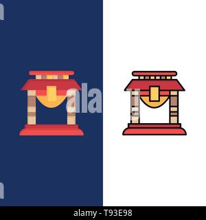 Door, Bridge, China, Chinese  Icons. Flat and Line Filled Icon Set Vector Blue Background - Stock Photo