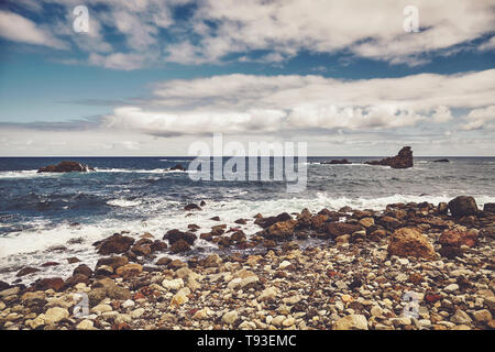 Roque de Las Bodegas Beach  in the area of Taganana, retro color toning applied, Tenerife, Spain. - Stock Photo