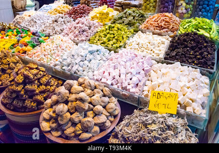 Turkish delight sweets, fruits, nuts at Spice Market or Grand Bazaar in Istanbul Turkey - Stock Photo