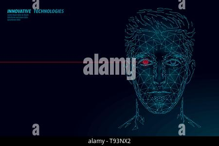 Low poly male human face biometric identification. Recognition system concept. Personal data secure access scanning innovation technology. 3D polygona - Stock Photo