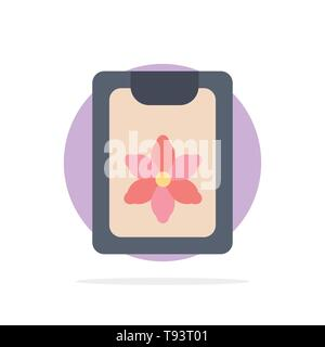 Flower, Clipboard, Spring, Clip Abstract Circle Background Flat color Icon - Stock Photo
