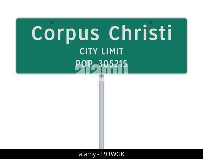Vector illustration of the Corpus Christi City Limit green road sign - Stock Photo